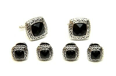 Antique Egyptian Etched Beaded Black Onyx Tuxedo Studs and Cufflinks Set
