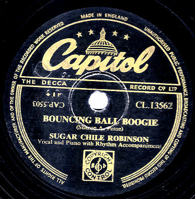 """Sugar Chile Robinson 78 """" Bouncing Ball Boogie / Numbers Boogie """" Cap Cl13562 E-"""