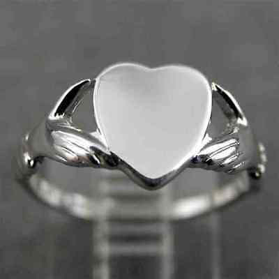 VINTAGE UNCAS HANDS HOLDING HEART SIGNET RING Size 4  Silver Tone NEW OLD STOCK