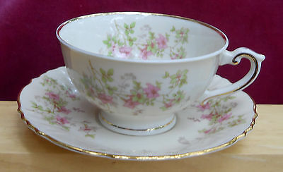 SYRACUSE CHINA STANSBURY COFFEE CUP/SAUCERS 4  FEDERAL PINK FLOWERS