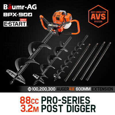Baumr-AG Post Hole Digger 86cc Posthole Earth Auger Fence Borer Petrol Drill Bit