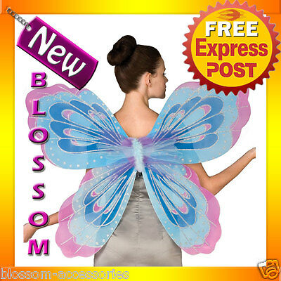 A223 Adult Ladies Butterfly Fairy Blue Pink Purple Angel Fairy Wings