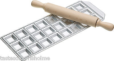 Genuine Imperia Italian Pasta 24 Square Hole Ravioli Tray & Wooden Rolling Pin