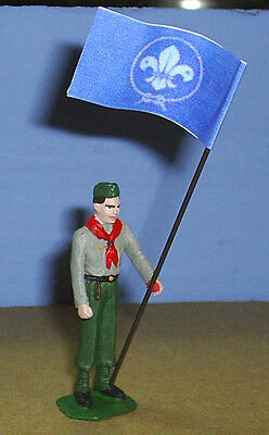 TOY SOLDIERS METAL NORTH AMERICAN BOY SCOUT HOLDING JAMBOREE FLAG 54MM
