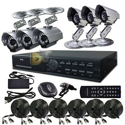 DNT 8 CH CHANNEL Home Video Surveillance DVR Security System 6 Outdoor Camera