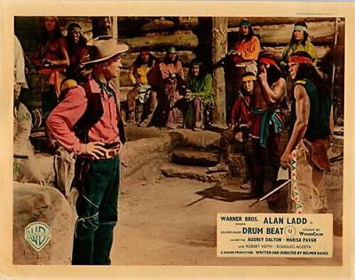 Drum Beat original lobby card Alan Ladd faces Indian tribe