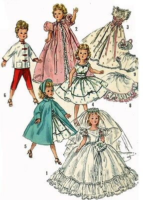 Vintage Doll Clothes PATTERN 1808 for 18 in Revlon Cissy doll by Ideal
