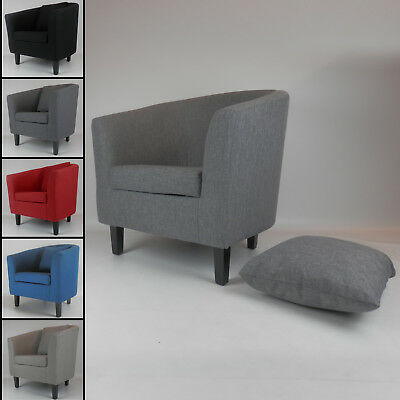 Fabric Linen Tub Chair Armchair Living Room Dining Office Reception