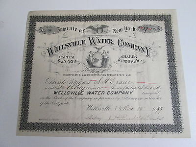 "1897 ""wellsville Water Company"" Stock Certificate, New York,  #64, 39 Shares"