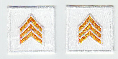 2 Police SGT Sergeant Chevron DARK GOLD on WHITE collar patches NEW ENGLAND