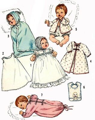 Vintage Doll Clothes PATTERN 4191 for 12 in Thumbelina Baby Dear by Ideal