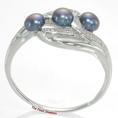 Solid Silver .925 Triple Blue Cultured Pearl Ring w/ Cubic Zirconia - TPJ