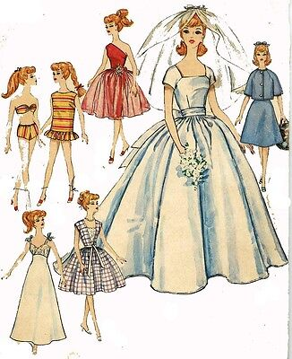 Vintage Doll Clothes PATTERN 4510 for 11.5 in Barbie Midge Gina Babs by Mattel