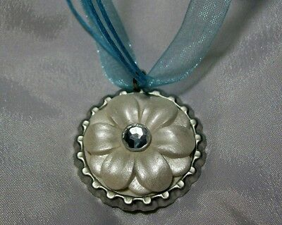 PEARL WHITE FLOWER PENDANT NECKLACE ORNAMENT OOAK mini polymer clay bottlecap