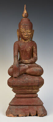 16th Century, Ava, Antique Burmese Wooden Seated Buddha