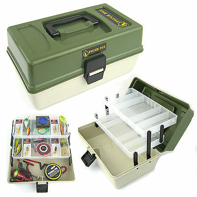 Fishing Tackle Box 2 Tray Cantilever 'tough Box' Sea Coarse Game Fishing