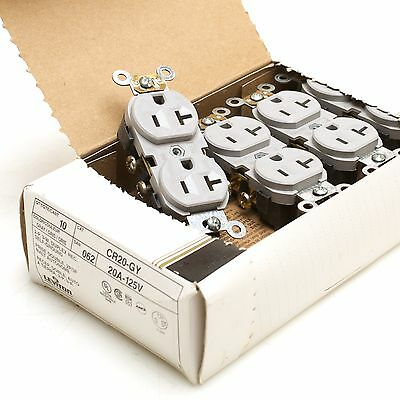 Leviton CR20-GY 20A 125VAC Gray Duplex Receptacle Pack of 9