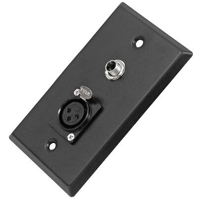 "Black Stainless Steel Wall Plate - One 1/4"" TS Mono Jack and One XLR Female"