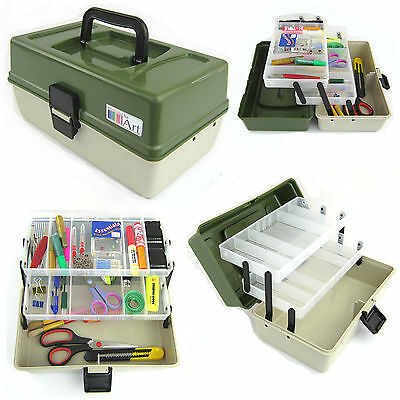 2 Tray Arts Craft Cantilever Box Sewing Embellishment Bead Paints Art Artist Box