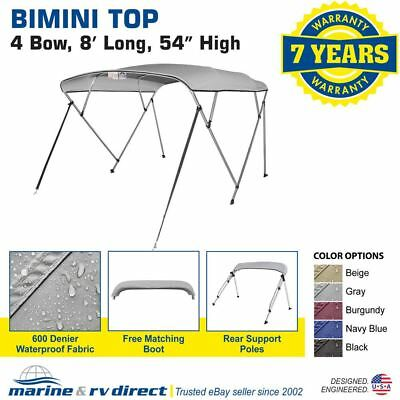 "New Bimini Top Boat Cover 4 Bow 54"" H 91"" - 96"" W 8 ft. Long Gray"