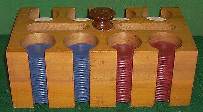 Vintage Wood Poker Chip Rack with 200 Poker Chip Set