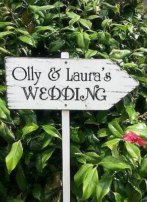 Vintage WEDDING THIS WAY Direction Sign Personalised Wooden Wedding Sign