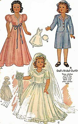 Vintage Doll Clothes PATTERN 1089 for 18 in Little Lady Dolls by Effanbee