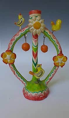 "Vintage Mexican pottery candelabra tree of life Puebla 8"" tall"