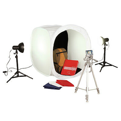 Square Perfect Platinum Photo Studio In A Box w/2 Light Tents & 8 Backgrounds