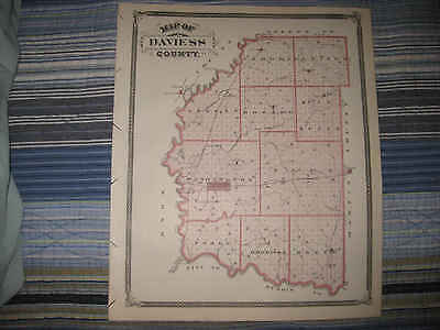 ANTIQUE DAVIESS COUNTY WASHINGTON MITCHELL BEDFORD PAOLI ORLEANS INDIANA MAP NR
