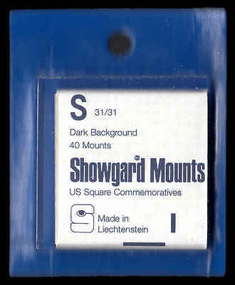"Showgard Black Stamp Mounts ""S"" PreCut  (40 count)  Celebrate The Century etc."
