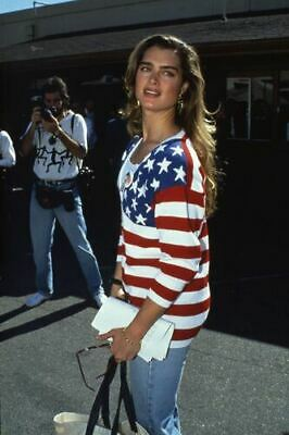 Brooke Shields candid press photo US stars stripes shirt 35mm slide transparency