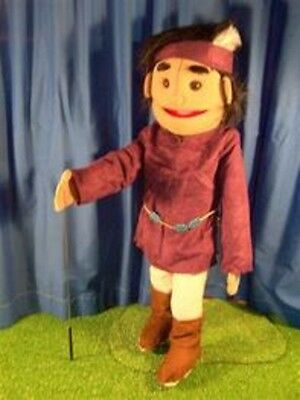 """28"""" American Indian Boy With Feather in Purple Shirt Puppet GS4587 New By Sunny"""