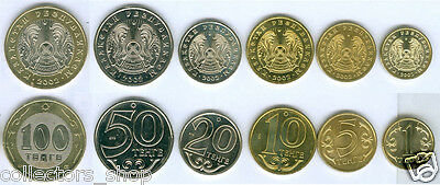 KAZAKHSTAN: 2002 Year completed set of 6 coins with bimettalic date 2002 UNC