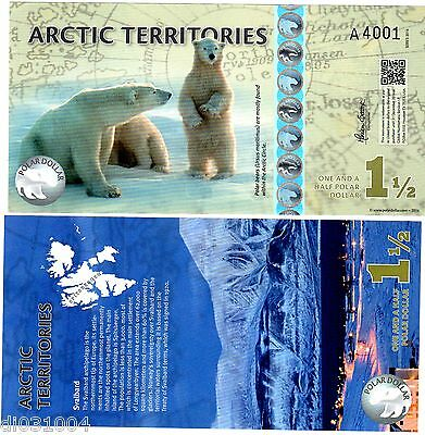 Arctic TERRITOIRES Billet 1 1/2 POLAR 2014 POLYMER OURS POLAIRE NEUF UNC