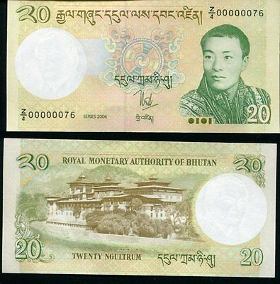 Bhutan 20 Ngultrum 2006 P 30 Z/4 Very Low Serial Number Unc