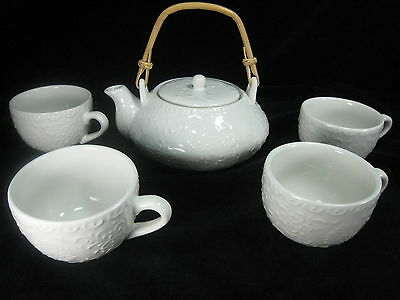 Pier 1 Imports White Embossed Scrolls Porcelain Teapot Set with Bamboo Handle