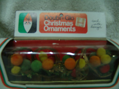 """VINTAGE BASKETS W/FRUIT CHRISTMAS ORNAMENTS 4/BOX DOUBL*GLO 3 1/2"""" FREE SHIPPING"""