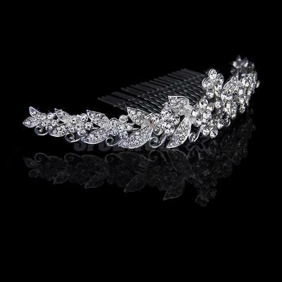 Silver Crystal Rhinestone Flower Tiara with Hair Comb Wedding Bridal Bridesmaid