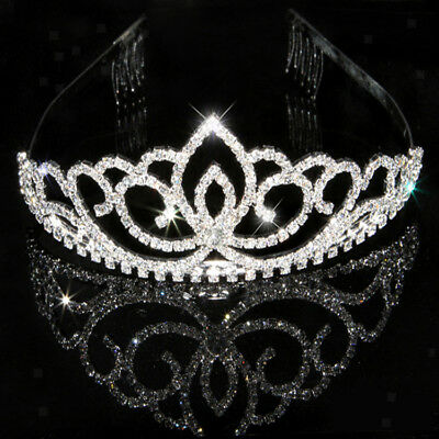 Bridal Pageant Rhinestone Crystal Prom Wedding Crown Tiara Headband w/ Hair Clip