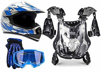 PeeWee Chest Protector Blue Helmet Motocross ATV Gear Combo Youth Gloves Goggles