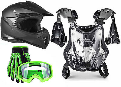 Youth PeeWee MX ATV Gear Helmet Gloves Goggles Chest Protector Green Matte Black