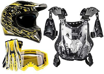 Adult Chest Protector Combo Helmet Motocross ATV Gloves Goggles Yellow