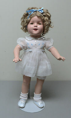 """ADORABLE 19"""" SHIRLEY TEMPLE COMPOSITION DOLL, FULLY JOINTED, c. 1930's"""