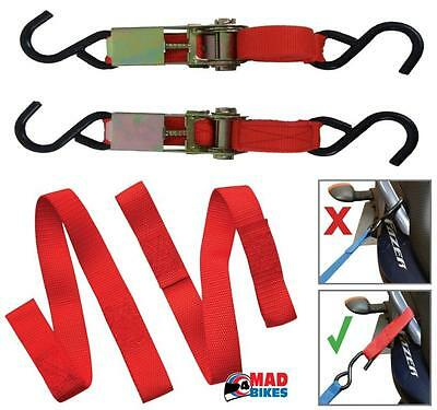 Motorcycle / Motorbike Tie Down Set Inc Ratchet Straps & Easy Straps