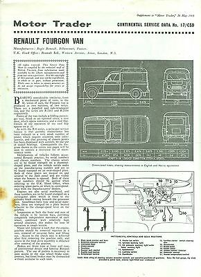 1965 Renault Fourgon Van Service Data Guide