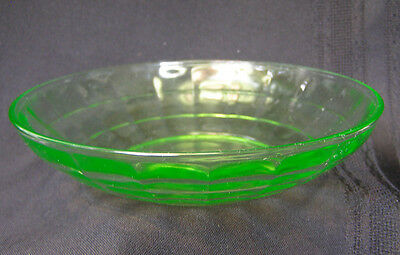 Vintage Block Optic Green Depression Glass Cereal Bowl 5 3/8 Inches