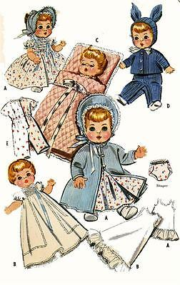 Vintage Doll Clothes PATTERN 2183 for 8-9 in Dydee Tiny Tears Betsy Wetsy Ideal