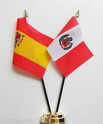 Spain & Peru Double Friendship Table Flag Set