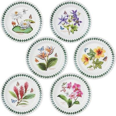 PORTMEIRION EXOTIC BOTANIC GARDEN BREAD & BUTTER PLATES ASSORTED SET OF 6, NEW